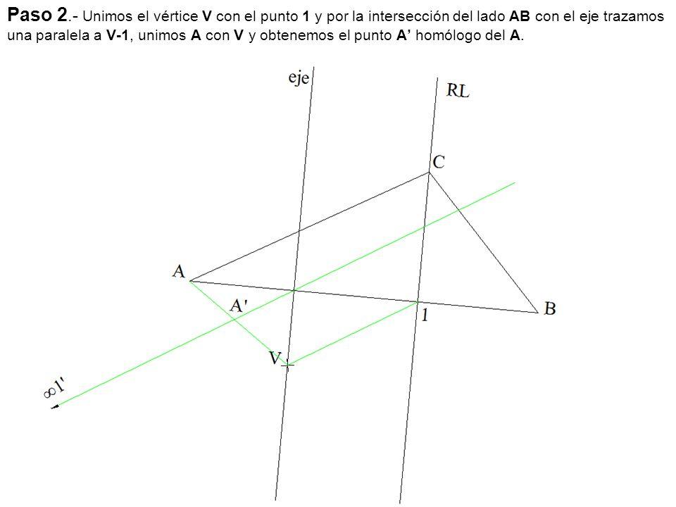 Paso 2.- Unimos el vértice V con el punto 1 y por la intersección del lado AB con el eje trazamos una paralela a V-1, unimos A con V y obtenemos el pu