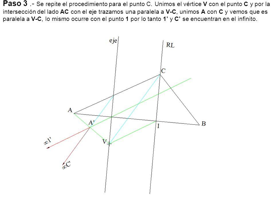 Paso 3.- Se repite el procedimiento para el punto C. Unimos el vértice V con el punto C y por la intersección del lado AC con el eje trazamos una para