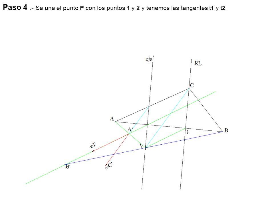Paso 4.- Se une el punto P con los puntos 1 y 2 y tenemos las tangentes t1 y t2.