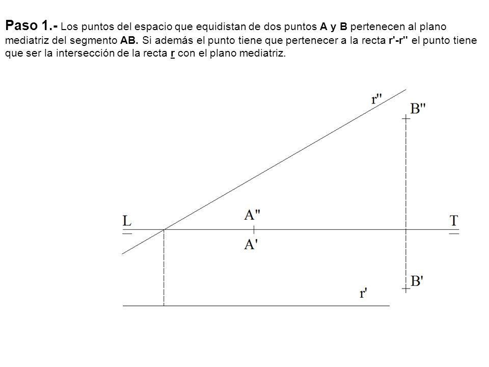 Paso 1.- Los puntos del espacio que equidistan de dos puntos A y B pertenecen al plano mediatriz del segmento AB. Si además el punto tiene que pertene