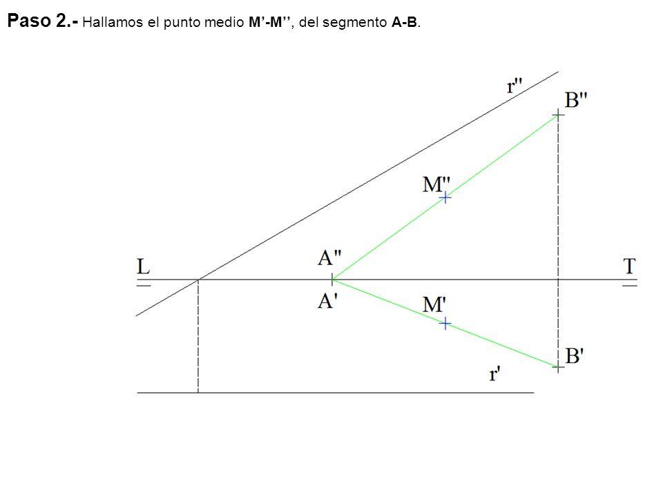 Paso 2.- Hallamos el punto medio M'-M'', del segmento A-B.