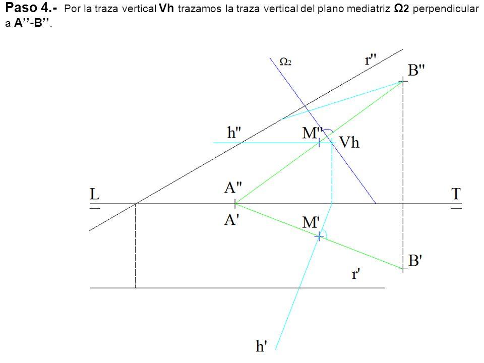 Paso 4.- Por la traza vertical Vh trazamos la traza vertical del plano mediatriz Ω 2 perpendicular a A''-B''.