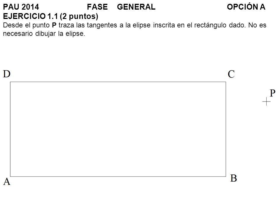 PAU 2014FASE GENERALOPCIÓN A EJERCICIO 1.1 (2 puntos) Desde el punto P traza las tangentes a la elipse inscrita en el rectángulo dado. No es necesario