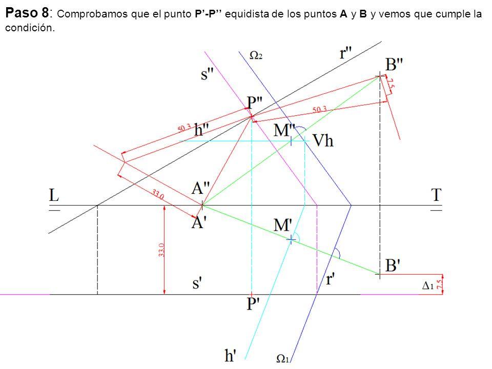Paso 8: Comprobamos que el punto P'-P'' equidista de los puntos A y B y vemos que cumple la condición.