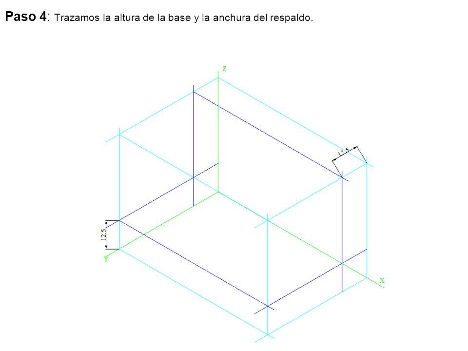 Paso 4: Trazamos la altura de la base y la anchura del respaldo.