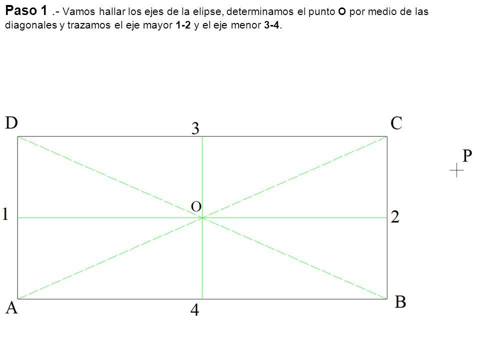 Paso 1. - Vamos hallar los ejes de la elipse, determinamos el punto O por medio de las diagonales y trazamos el eje mayor 1-2 y el eje menor 3-4.