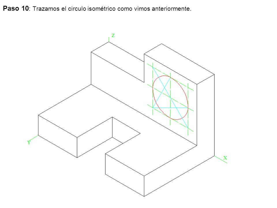 Paso 10 : Trazamos el circulo isométrico como vimos anteriormente.