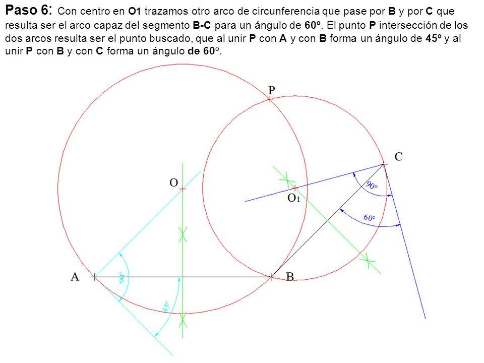 Paso 6 : Con centro en O 1 trazamos otro arco de circunferencia que pase por B y por C que resulta ser el arco capaz del segmento B-C para un ángulo d