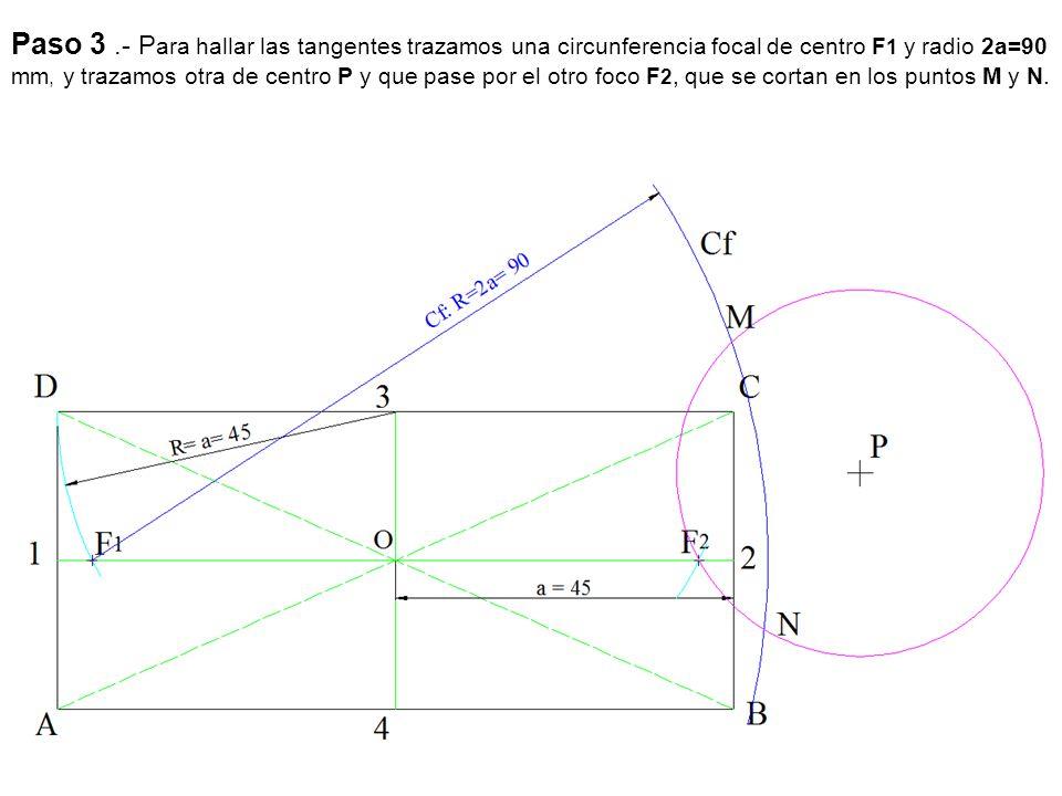 Paso 3.- P ara hallar las tangentes trazamos una circunferencia focal de centro F 1 y radio 2a=90 mm, y trazamos otra de centro P y que pase por el ot