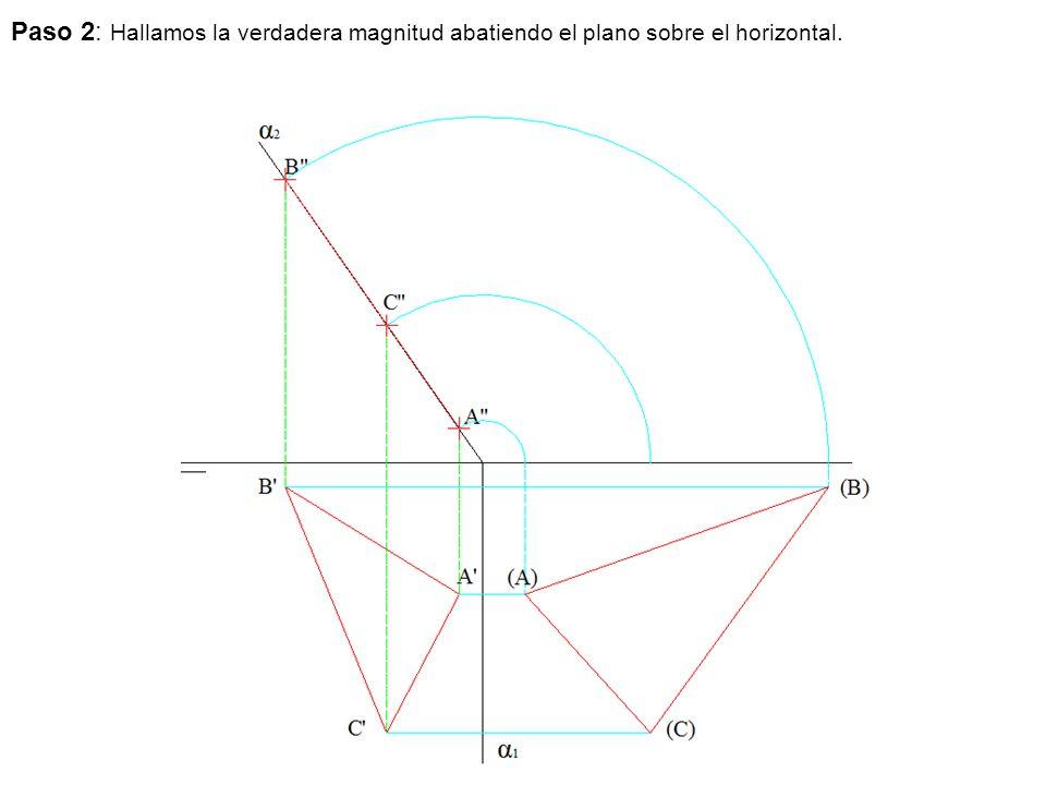 Paso 2: Hallamos la verdadera magnitud abatiendo el plano sobre el horizontal.