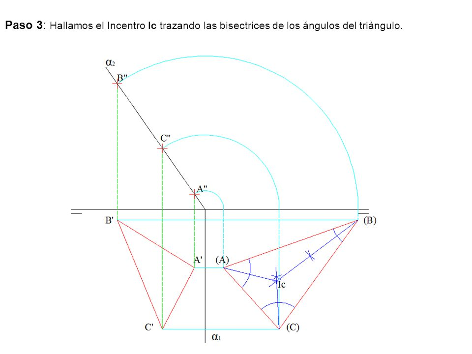 Paso 3: Hallamos el Incentro Ic trazando las bisectrices de los ángulos del triángulo.