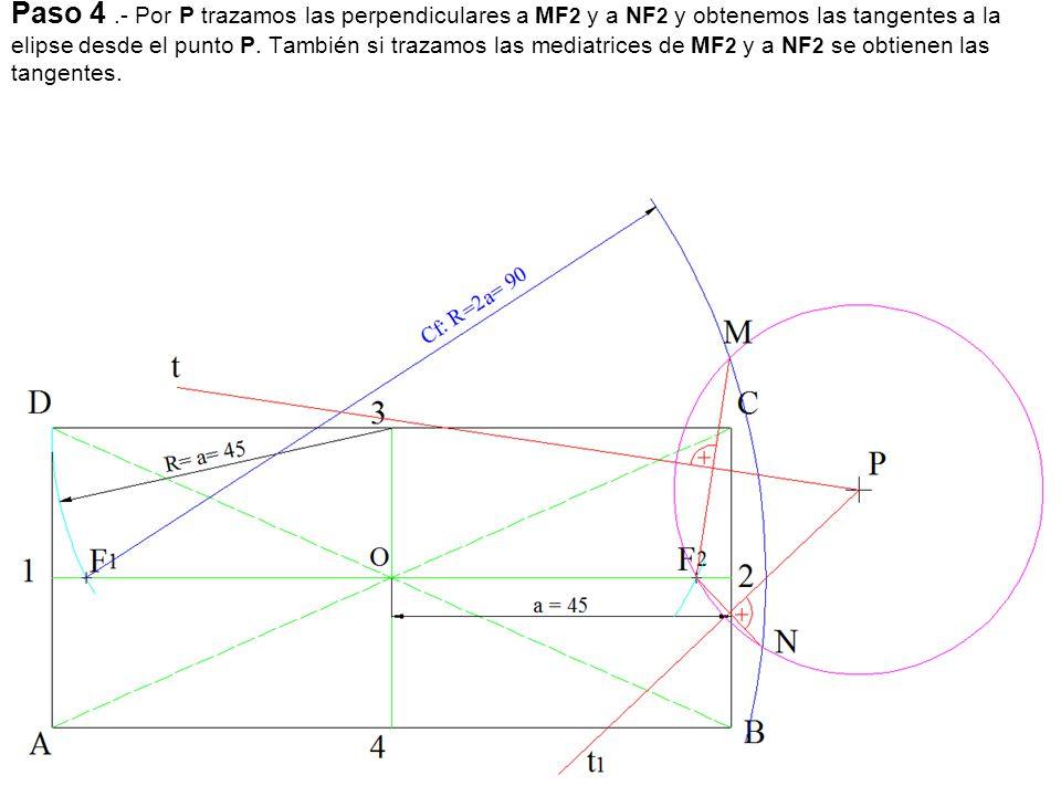 Paso 5.- Hallamos los puntos de tangencia para ello unimos los puntos M y N con el otro foco F1, obteniendo los puntos T y T 1.