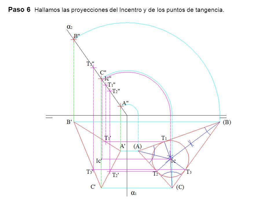 Paso 6 Hallamos las proyecciones del Incentro y de los puntos de tangencia.