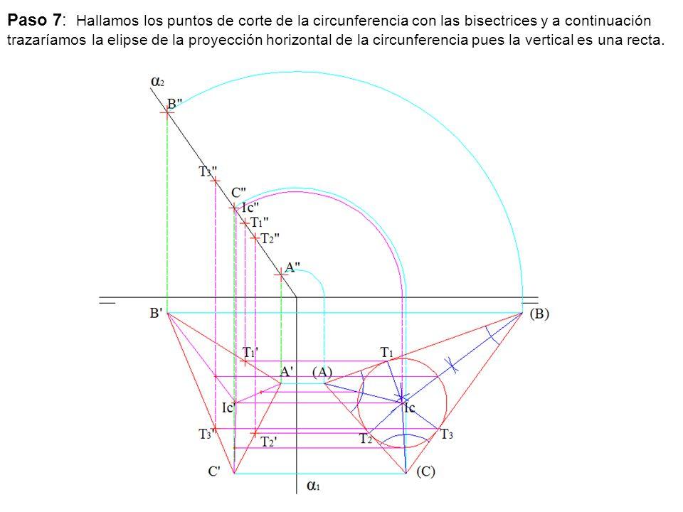 Paso 7: Hallamos los puntos de corte de la circunferencia con las bisectrices y a continuación trazaríamos la elipse de la proyección horizontal de la