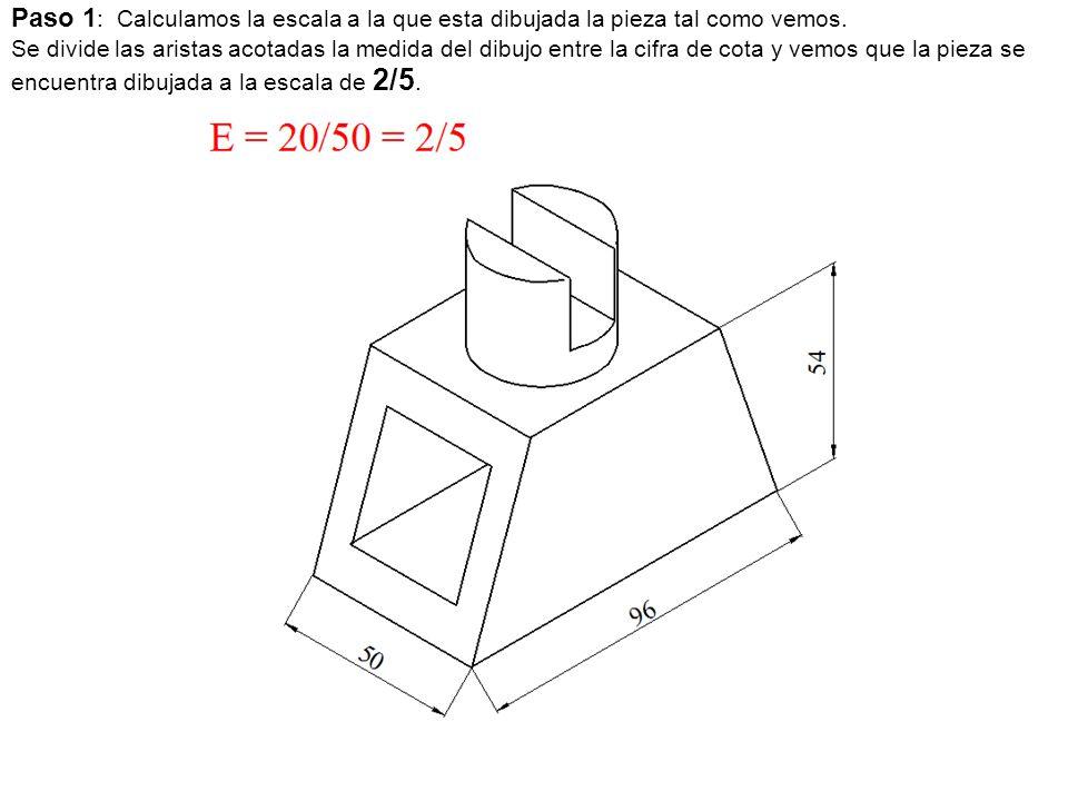 Paso 1 : Calculamos la escala a la que esta dibujada la pieza tal como vemos. Se divide las aristas acotadas la medida del dibujo entre la cifra de co