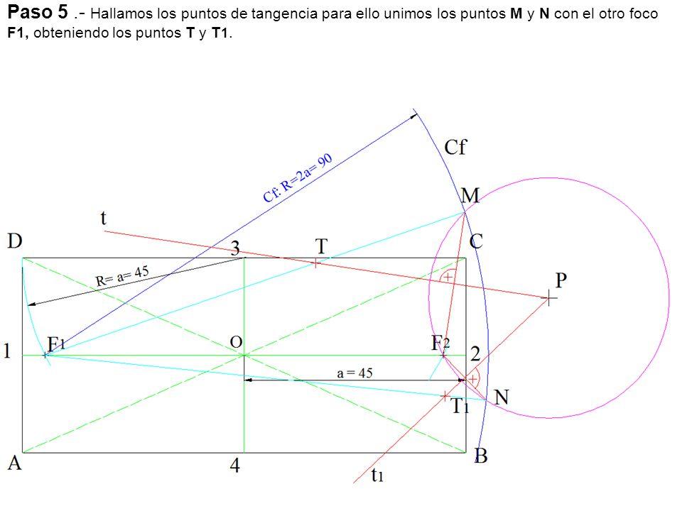 Paso 2: Sobre la perpendicular llevamos 40 mm y obtenemos el centro de la circunferencia punto O, tangente a la recta R en el punto A.