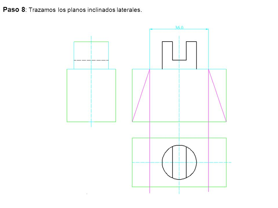 Paso 8 : Trazamos los planos inclinados laterales.