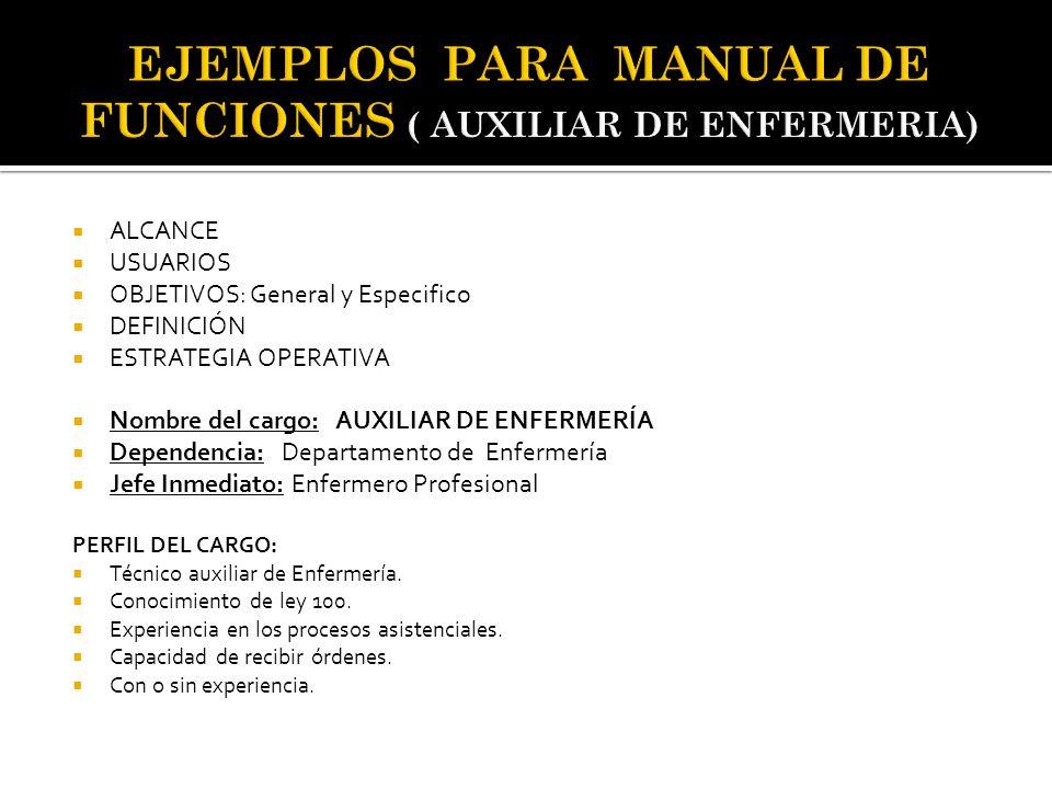  ALCANCE  USUARIOS  OBJETIVOS: General y Especifico  DEFINICIÓN  ESTRATEGIA OPERATIVA  Nombre del cargo: AUXILIAR DE ENFERMERÍA  Dependencia: D