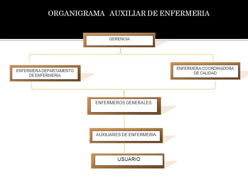 ORGANIGRAMA AUXILIAR DE ENFERMERIA ENFERMERA COORDINADORA DE CALIDAD ENFERMERA DEPARTAMENTO DE ENFERMERIA ENFERMEROS GENERALES AUXILIARES DE ENFERMERI