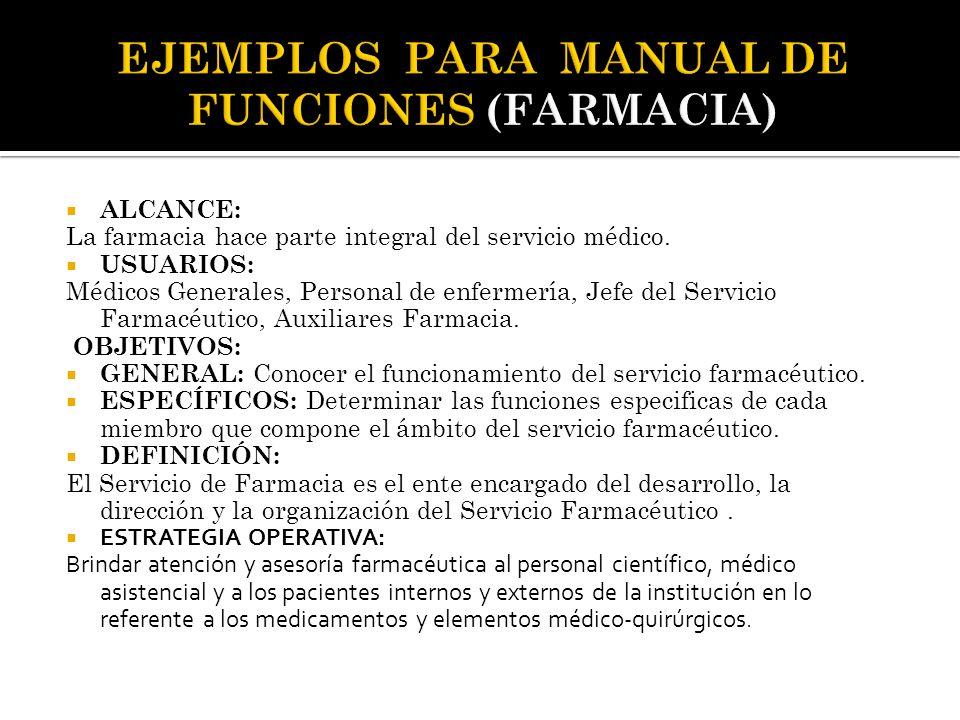  ALCANCE: La farmacia hace parte integral del servicio médico.  USUARIOS: Médicos Generales, Personal de enfermería, Jefe del Servicio Farmacéutico,