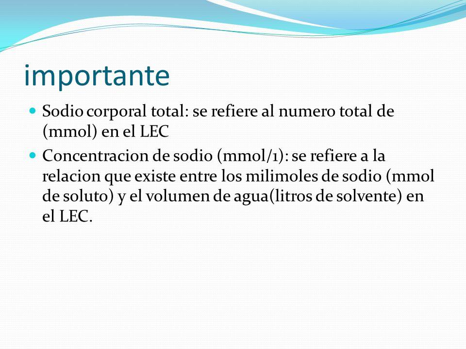 importante Sodio corporal total: se refiere al numero total de (mmol) en el LEC Concentracion de sodio (mmol/1): se refiere a la relacion que existe e