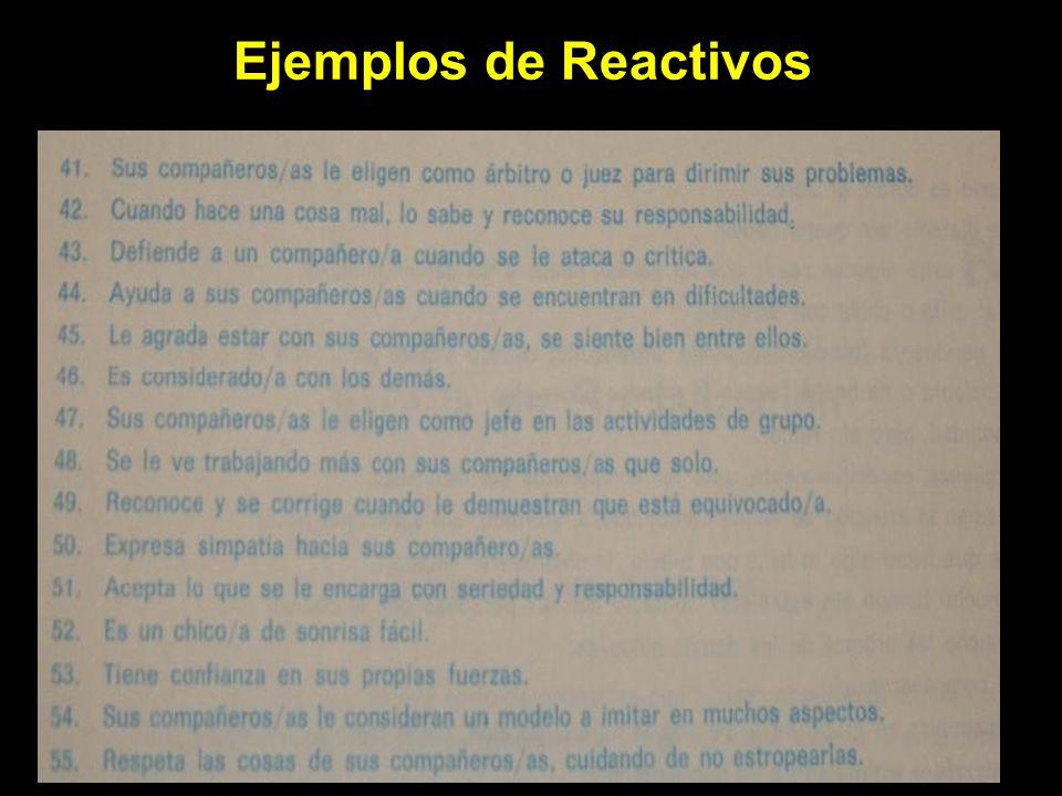 EJEMPLOS DE REACTIVOS Ejemplos de Reactivos