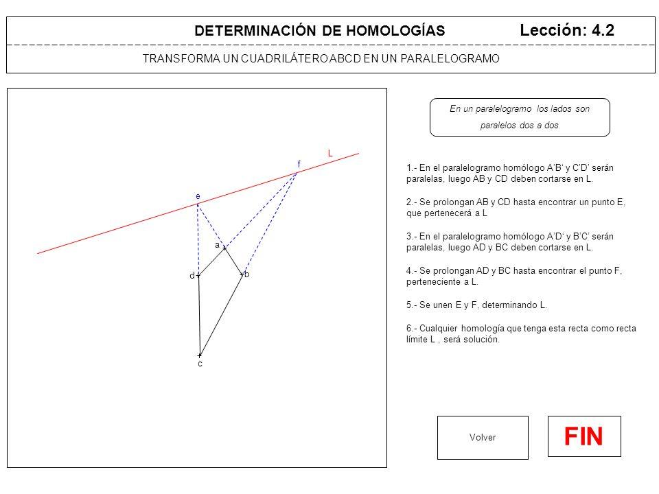 TRANSFORMA UN CUADRILÁTERO ABCD EN UN RECTÁNGULO Lección: 4.3 1.- Se determina L como en el caso anterior Volver FIN DETERMINACIÓN DE HOMOLOGÍAS L 2.- Cualquier homología que utilice esta recta como recta límite L, trasformará ABCD en un paralelogramo Un rectángulo es un paralelogramo, con los lados contiguos a 90º a b c d e f 4.- Cualquier homología que tenga el centro V en dicha circunferencia y la recta límite L sea la dada, será solución.