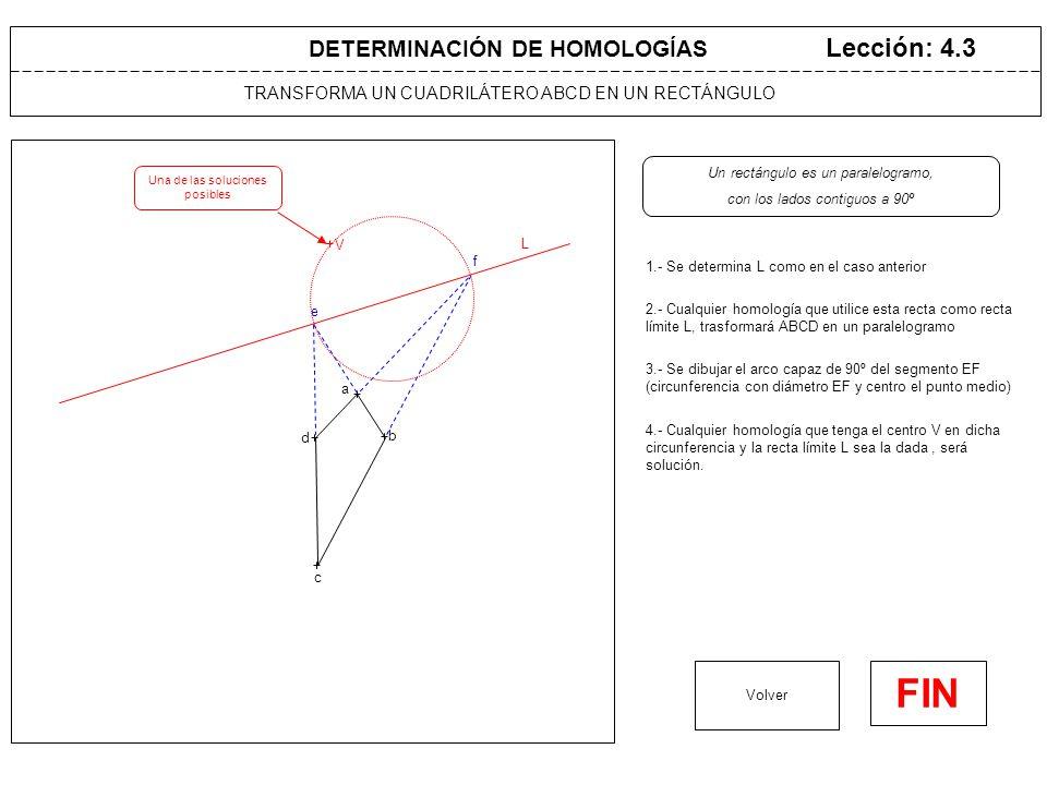 TRANSFORMA UN CUADRILÁTERO ABCD EN UN ROMBO Lección: 4.4 1.- Se determina L como en el caso anterior Volver FIN DETERMINACIÓN DE HOMOLOGÍAS L 2.- Cualquier homología que utilice esta recta como recta límite L, trasformará ABCD en un paralelogramo Un rombo es un paralelogramo, con las diagonales a 90º a b c d e f 5.- Cualquier homología que tenga el centro V en dicha circunferencia y la recta límite L sea la dada, será solución.