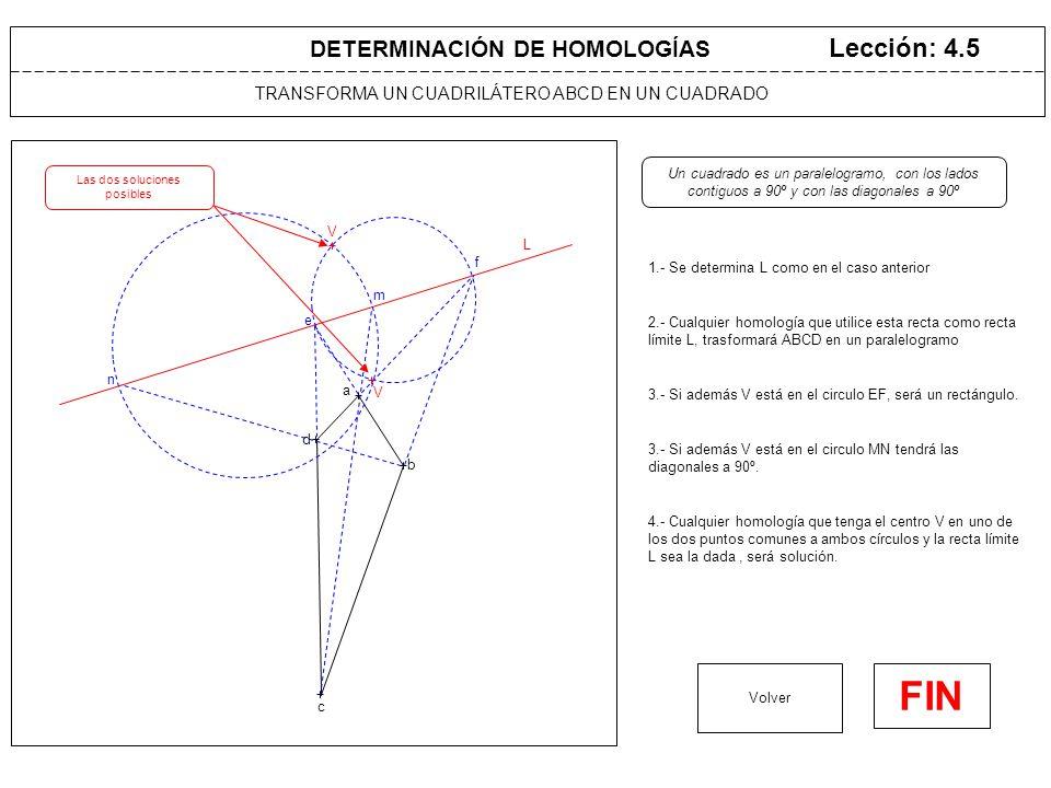LA FIGURA HOMÓLOGA TIENE UN ÁNGULO DADO Lección: 4.6 1.- Se prolonga BA hasta determinar E en la recta límite L Volver FIN DETERMINACIÓN DE HOMOLOGÍAS L Se quiere que el ángulo C'A'B' sea de  grados a b c e f 4.- Cualquier homología que tenga el centro V en uno de los dos arcos capaces y como recta límite L la dada, será solución.
