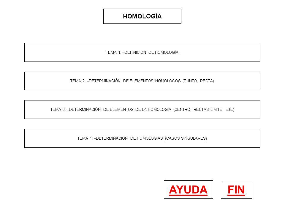 HOMOLOGÍA FIN AYUDA TEMA 1. –DEFINICIÓN DE HOMOLOGÍA TEMA 2. –DETERMINACIÓN DE ELEMENTOS HOMÓLOGOS (PUNTO, RECTA) TEMA 3. –DETERMINACIÓN DE ELEMENTOS