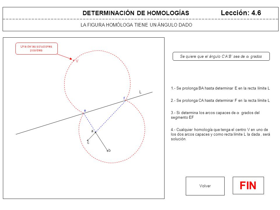 LA FIGURA HOMÓLOGA TIENE UNAS DIMENSIONES DADAS Lección: 4.7 1.- Se prolonga AB hasta L, determinando F.