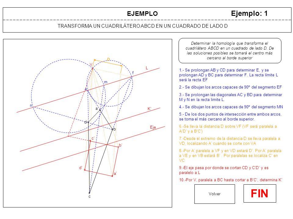 TRANSFORMA UN CUADRILÁTERO ABCD EN UN CUADRADO DE LADO D Ejemplo: 1 1.- Se prolongan AB y CD para determinar E, y se prolongan AD y BC para determinar