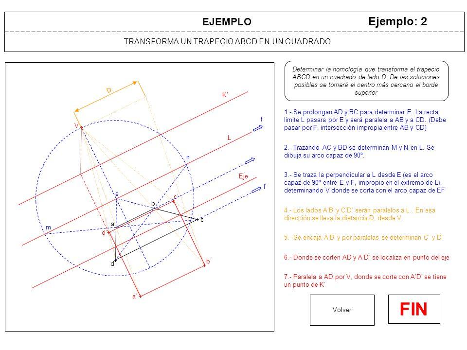 TRANSFORMA UN TRAPECIO ABCD EN UN CUADRADO Ejemplo: 2 1.- Se prolongan AD y BC para determinar E. La recta límite L pasara por E y será paralela a AB