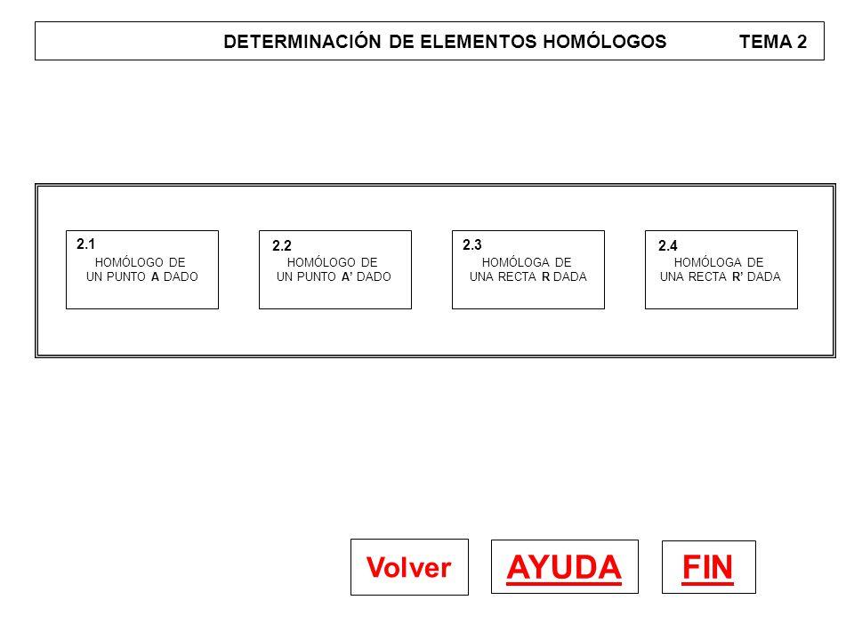 DETERMINACIÓN DE ELEMENTOS DE LA HOMOLOGÍA TEMA 3 FIN AYUDA Volver DETERMINACIÓN DE LA RECTA LÍMITE K' 3.1 DETERMINACIÓN DE LA RECTA LÍMITE L 3.2 DETERMINACIÓN DEL EJE 3.3
