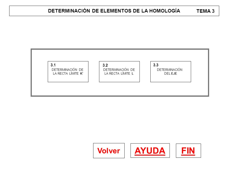 DETERMINACIÓN DE ELEMENTOS DE LA HOMOLOGÍA TEMA 3 FIN AYUDA Volver DETERMINACIÓN DE LA RECTA LÍMITE K' 3.1 DETERMINACIÓN DE LA RECTA LÍMITE L 3.2 DETE