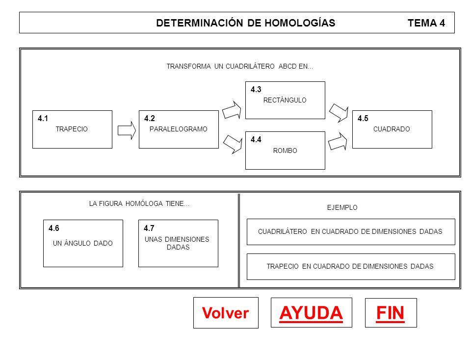 DETERMINACIÓN DE HOMOLOGÍAS TEMA 4 FIN AYUDA Volver TRAPECIO 4.1 PARALELOGRAMO 4.2 RECTÁNGULO 4.3 ROMBO 4.4 CUADRADO 4.5 TRANSFORMA UN CUADRILÁTERO AB
