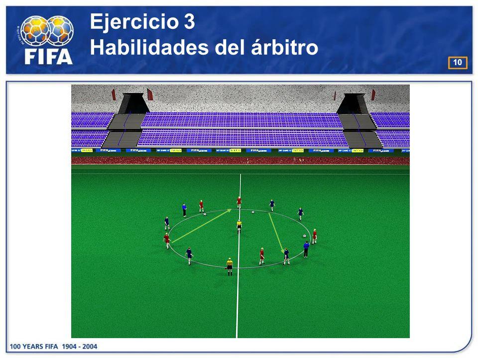 11 Ejercicio 4 Habilidades del árbitro O bjetivo : : −Aumentar el reconocimiento por parte del árbitro de los movimientos / acciones que realizan los jugadores dentro del área penal.