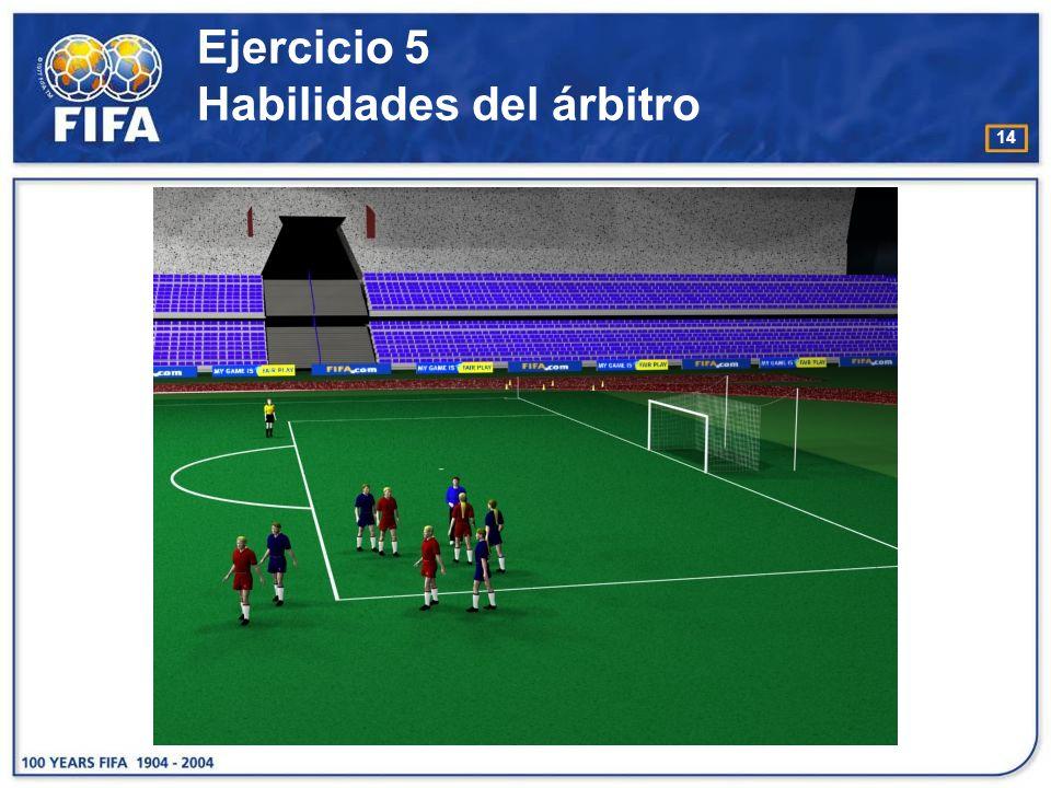 15 Ejercicio 5b (sin jugadores) Habilidades del árbitro O bjetivo : : −Aumentar el reconocimiento por parte del árbitro de los movimientos / acciones que realizan los jugadores dentro del área penal.