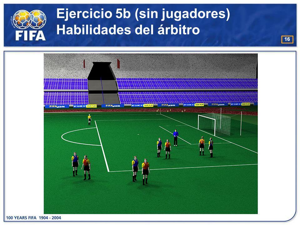 17 Ejercicio 6 Habilidades del árbitro - Colocación O bjetivo : : −Desarrollar el movimiento y la colocación del árbitro en el terreno de juego.