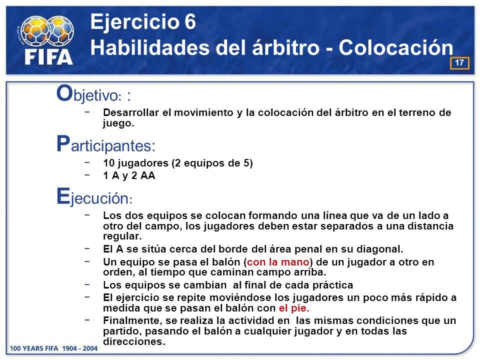18 Ejercicio 6 Habilidades del árbitro - Colocación