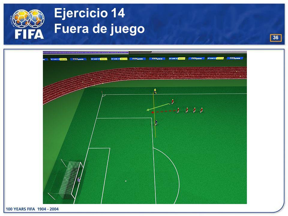 37 Ejercicio 15 Fuera de juego O bjetivo : −Juzgar si un atacante está en posición de fuera de juego cuando el compañero está en posesión del balón.
