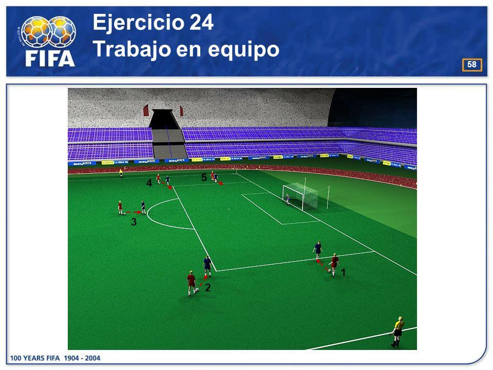 59 Ejercicio 25 Trabajo en equipo O bjetivo : −Juzgar si un atacante está en posición de fuera de juego cuando el compañero está en posesión del balón.