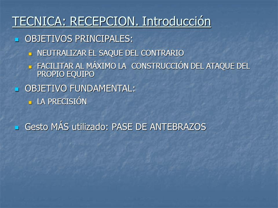 TECNICA: RECEPCION (Foto 1) Palabra clave: Plataforma, agarre y pulgares Descripción: EN LA FORMACIÓN DE LA PLATAFORMA DE CONTACTO, DEBEMOS BUSCAR QUE ÉSTA SEA AMPLIA, HOMOGENEA, COMPACTA Y ESTABLE.