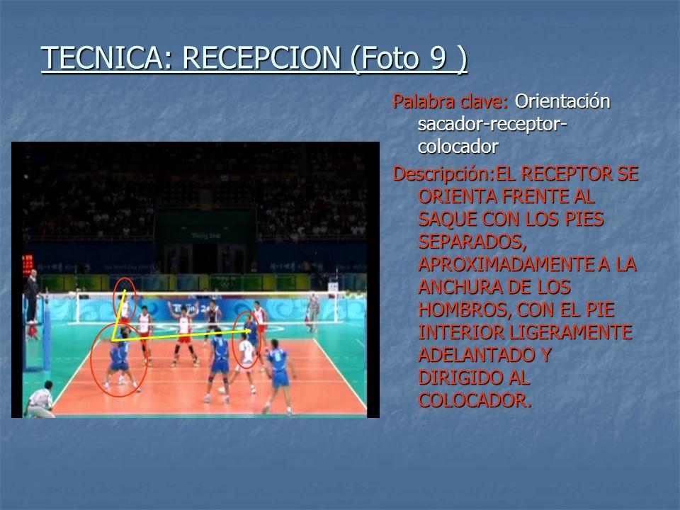 TECNICA: RECEPCION (Foto 9 ) Palabra clave: Orientación sacador-receptor- colocador Descripción:EL RECEPTOR SE ORIENTA FRENTE AL SAQUE CON LOS PIES SE