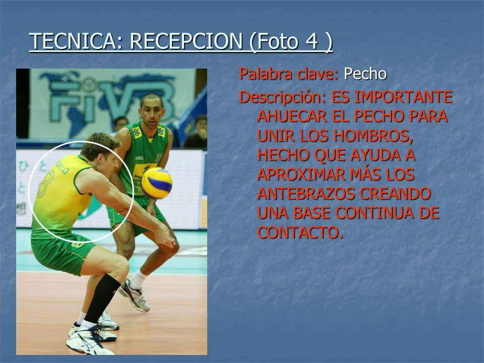 TECNICA: RECEPCION (Foto 4 ) Palabra clave: Pecho Descripción: ES IMPORTANTE AHUECAR EL PECHO PARA UNIR LOS HOMBROS, HECHO QUE AYUDA A APROXIMAR MÁS L