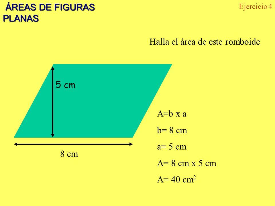 ÁREAS DE FIGURAS PLANAS ÁREAS DE FIGURAS PLANAS Ejercicio 4 5 cm 8 cm Halla el área de este romboide A=b x a b= 8 cm a= 5 cm A= 8 cm x 5 cm A= 40 cm 2