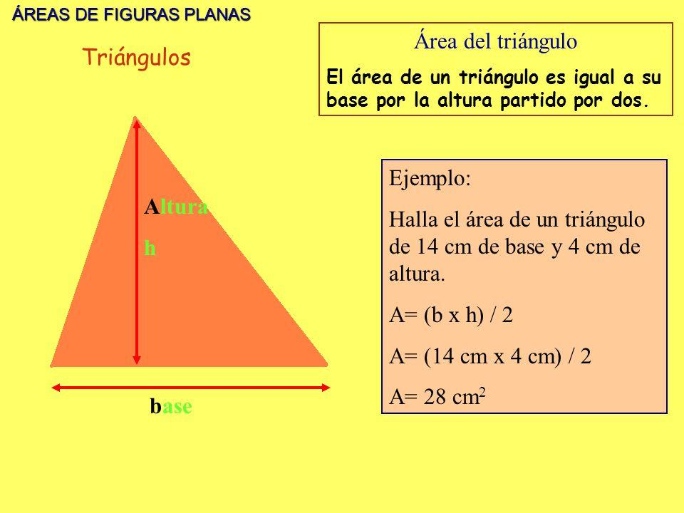 ÁREAS DE FIGURAS PLANAS ÁREAS DE FIGURAS PLANAS base Altura h Área del triángulo El área de un triángulo es igual a su base por la altura partido por dos.