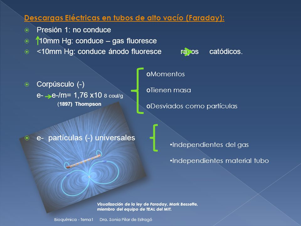  Presión 1: no conduce  10mm Hg: conduce – gas fluoresce  <10mm Hg: conduce ánodo fluoresce rayos catódicos.