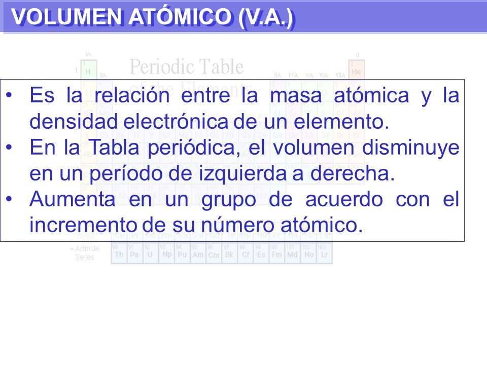 La historia de la tabla peridica moderna y periodicidad ppt descargar 51 volumen atmico va es la relacin entre la masa atmica y la densidad electrnica de un elemento en la tabla peridica el volumen disminuye en un urtaz Choice Image