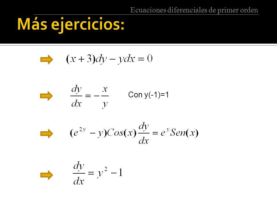 Ecuaciones diferenciales de primer orden Con y(-1)=1